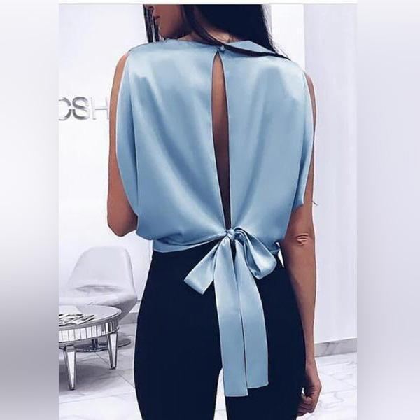Fashionable Sexy   T-Shirt With A Bow On The Back Backless Blouse