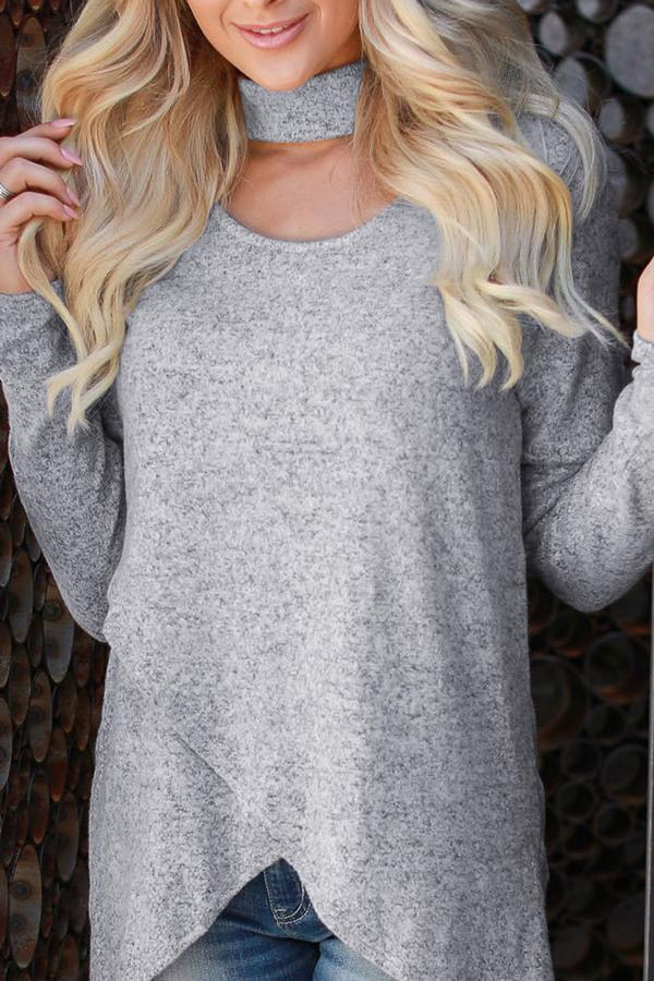 Casual Irregular Long Sleeve Pure Colour Knitwear