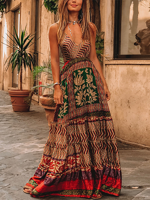 Bohemian V Neck Sleeveless Printed Colour Dress