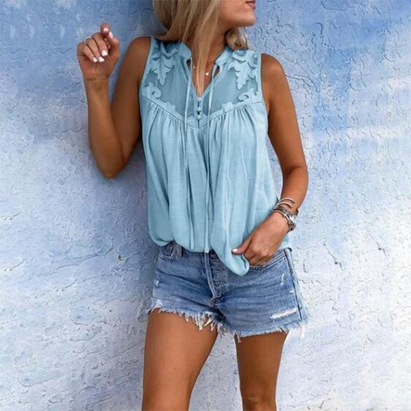 Casual Lace V Neck Splicing Sleeveless Shirt