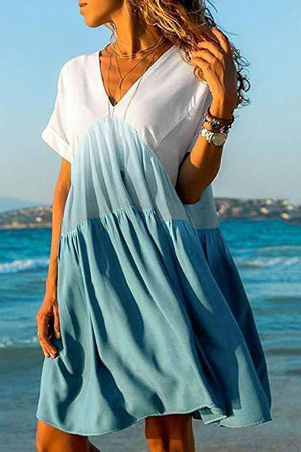 V Neck Ombre/Tie-Dye Short Sleeve Casual Dress