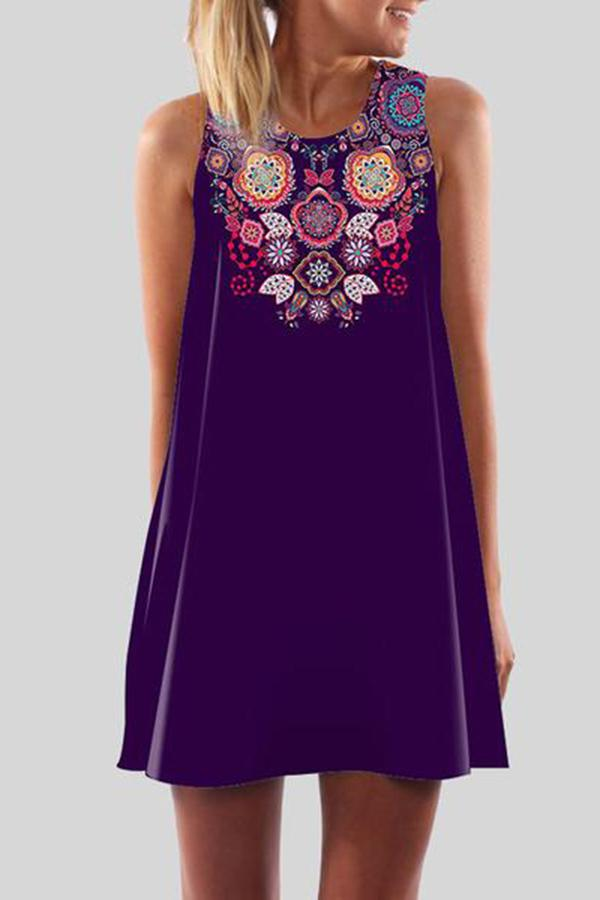 Elegant Round Neck Printed Colour Sleeveless Dress