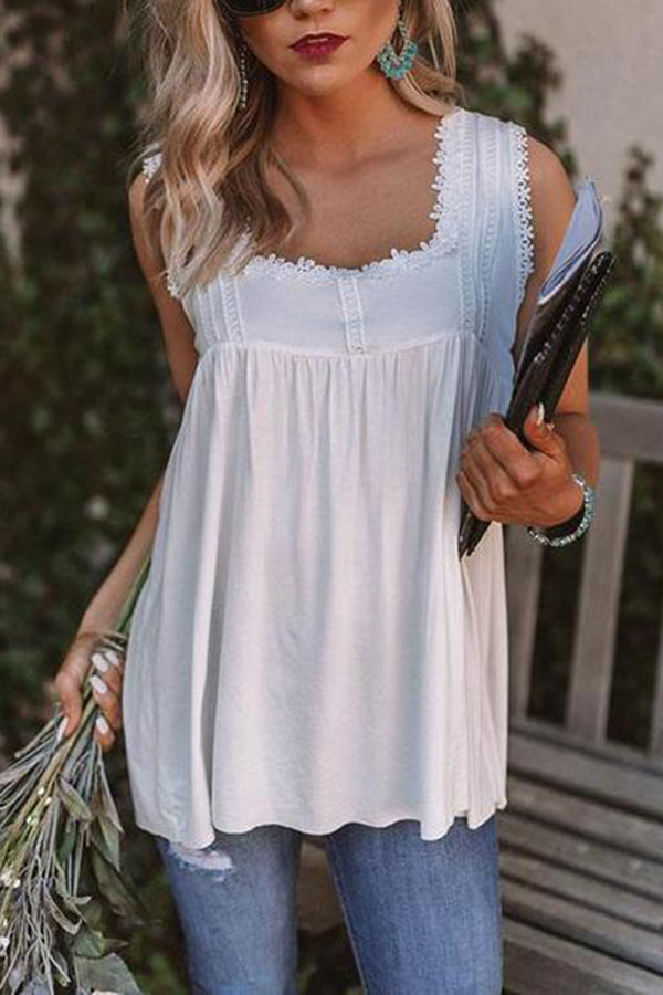 Elegant Lace Splicing Square-Cut Collar Sleeveless Pleated Tank Top
