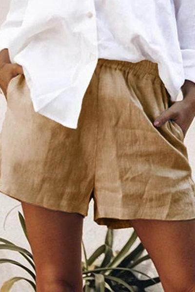 Casual Solid Color Cotton And Linen Shorts