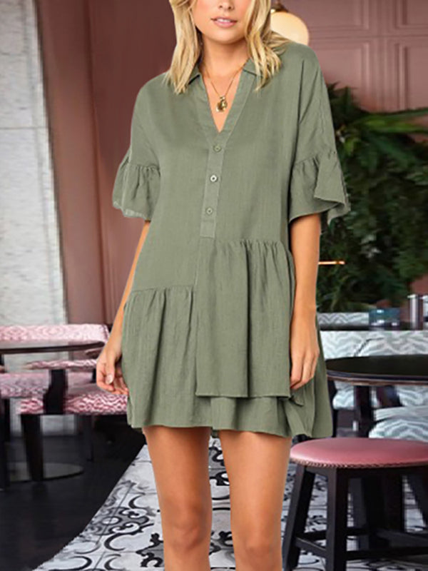Casual V Neck Ruffled Splicing Single-Breasted Dress