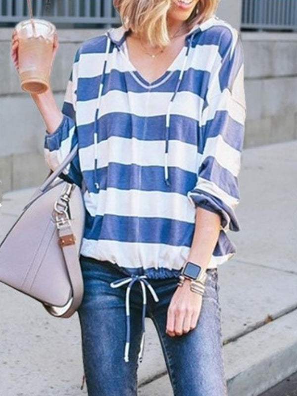 Loose V-Neck Long-Sleeved   Striped Hooded T-Shirt Top
