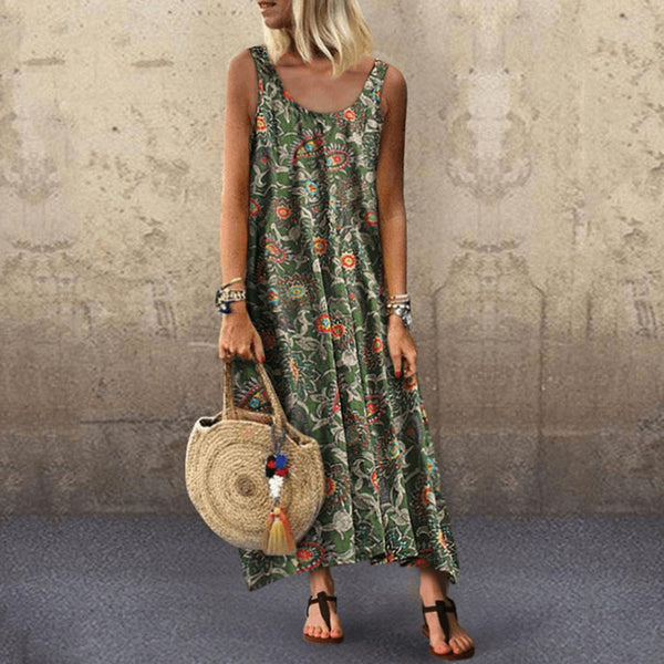 Vacation Print Sexy Round Neck   Sleeveless Dress