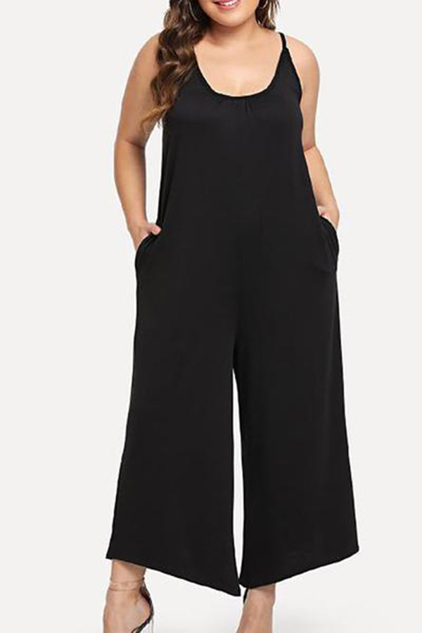 Plus Size Casual Round Neck Pure Colour Braces Jumpsuits