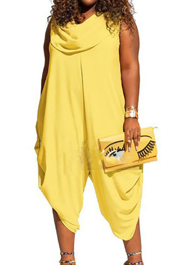 Plus Size Commuting Sleeveless Pure Colour Jumpsuits