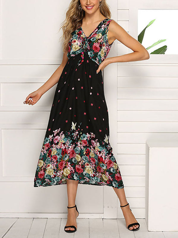Bohemian V Neck Sleeveless Splicing Printed Colour Dress