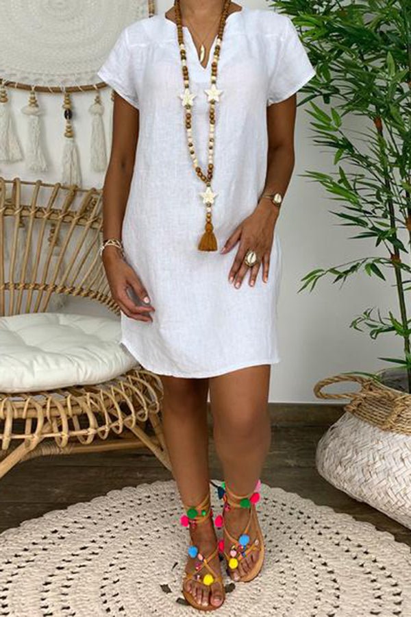 Casual V Neck Pure Colour Short Sleeve Dress