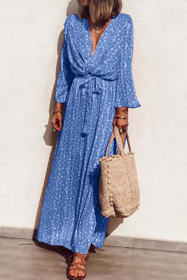 Elegant V Neck Floral Pattern Long Sleeve Dress