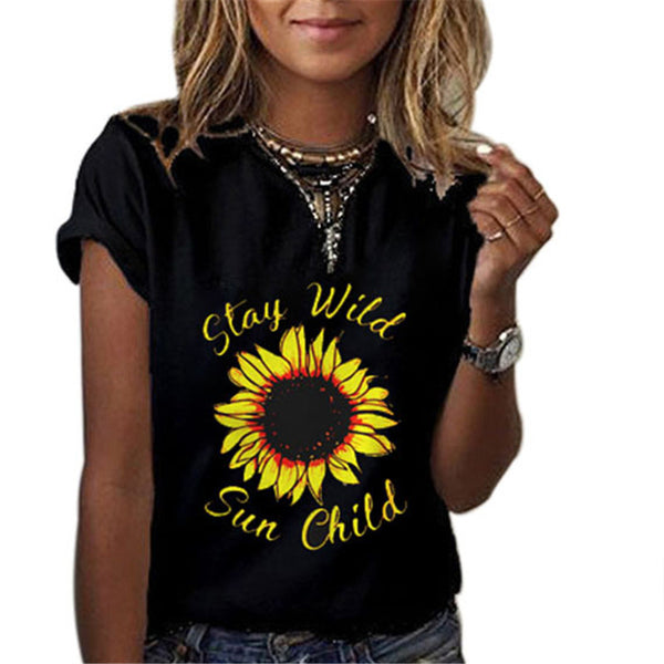 Women's Sunflower Letter Printed Round Neck Short Sleeve T-Shirts