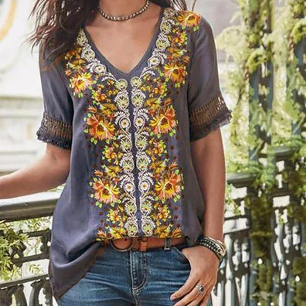 Print Short Sleeve Stitching V-Neck T-Shirt