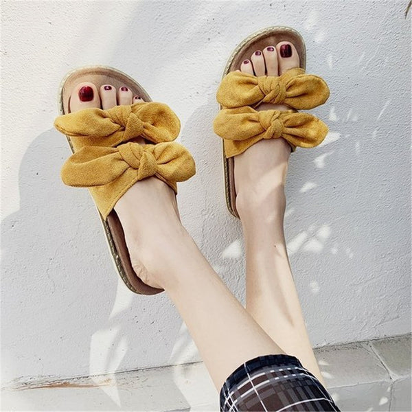 Women's Bow Decoration Flat   Slippers