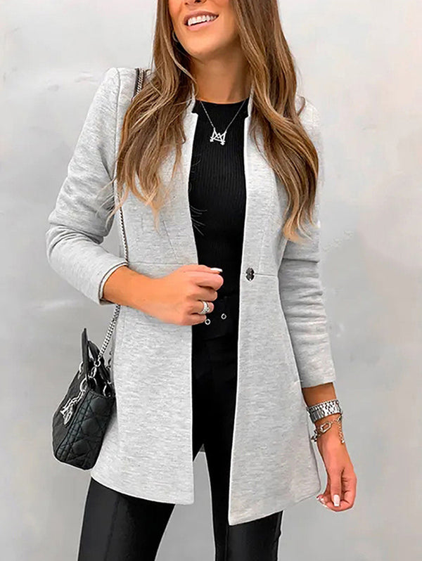 Fashion Pure Colour Tailored Collar Long Sleeve Splicing Coat