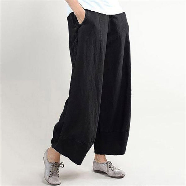 Casual Loose Cotton Linen Stitching Wide-Leg Pants