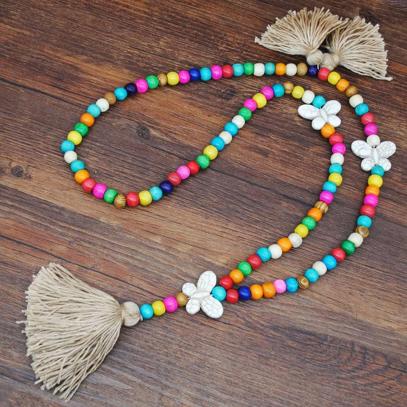Butterfly Color Wooden Beads Tassel Necklace