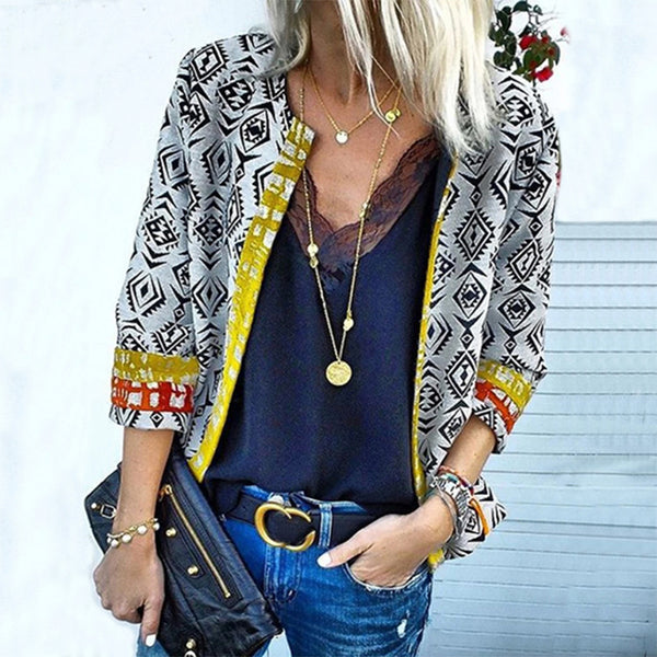 Casual Printed Bracelet Sleeve Contrast Color Cardigan