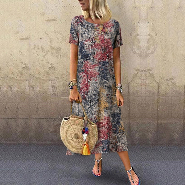 Casual Printed Round Neck Short Sleeve Dress