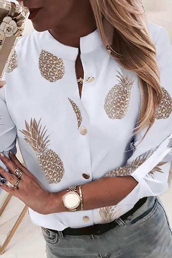 European And American Style Fresh Printed Curled Sleeve Shirt