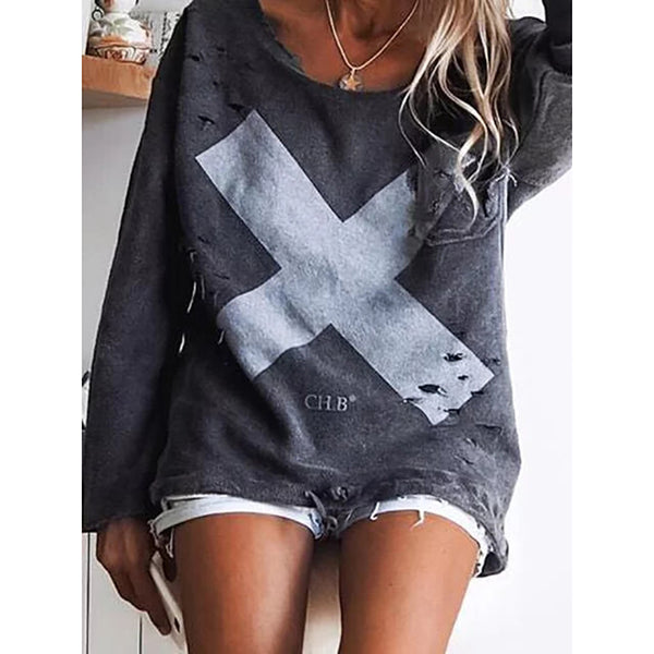 Casual Printed Hole Long Sleeve Knitwear