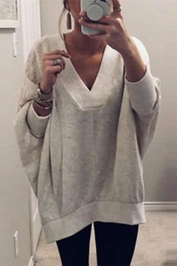 Casual Long Sleeve Solid Color Loose V-Neck Knit Pullover Sweater