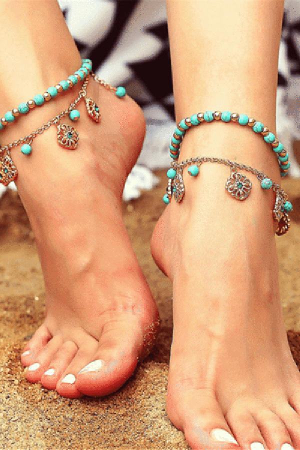 Bohemian   beaded tassel combination anklet