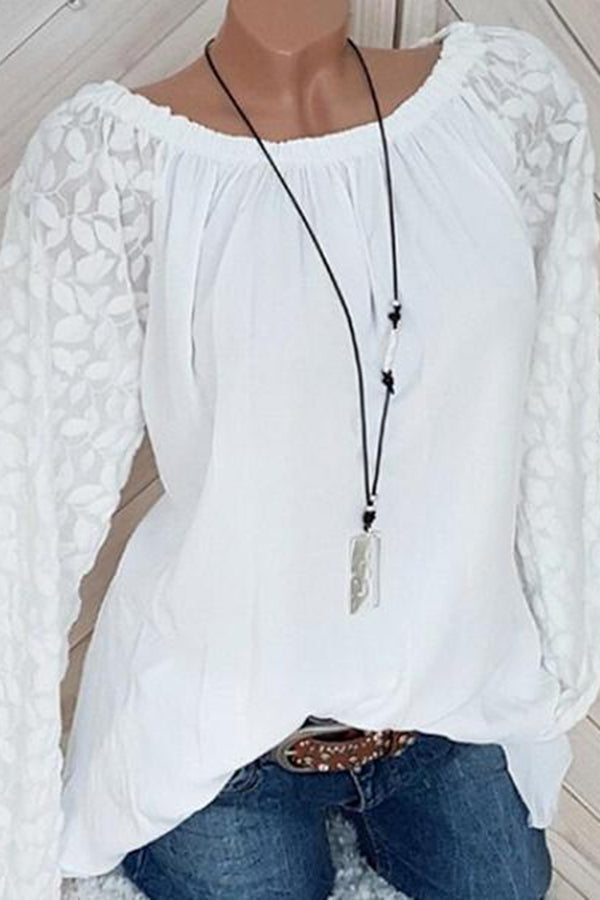 Decorative Lace Plain Long Sleeve Blouses