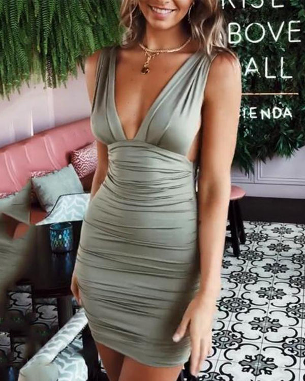 Sexy Slim Pack Hip Front And   Back Deep V Pleated Dress