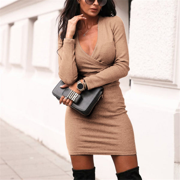 Sexy Pure Color V Neck Long Sleeve Dress