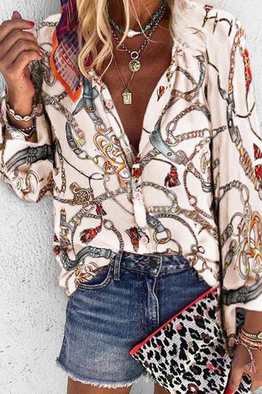 Fashion Chain Printed Lapel Single Row Button Long Sleeve Blouse