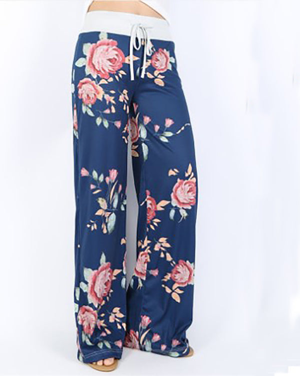 Casual Loose Flower Women's Mid-Rise Wide-Leg Pants