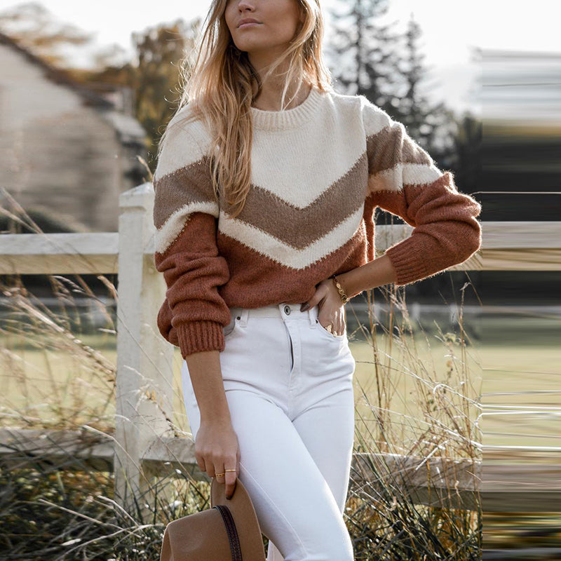 Leisure Round Neck Splicing Long Sleeve Sweater