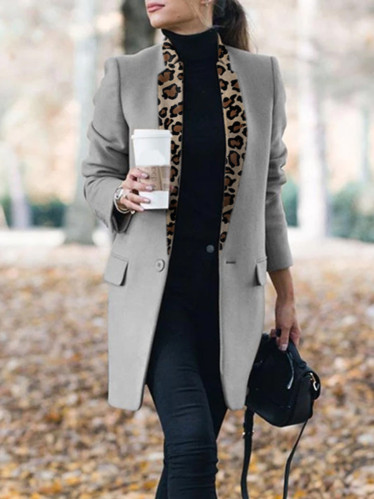 Fashion Leopard Printed Collar Slim Blazer