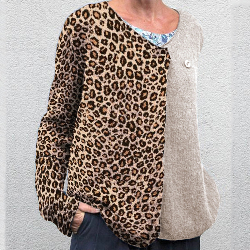 Fashion lady leopard stitching round neck loose top