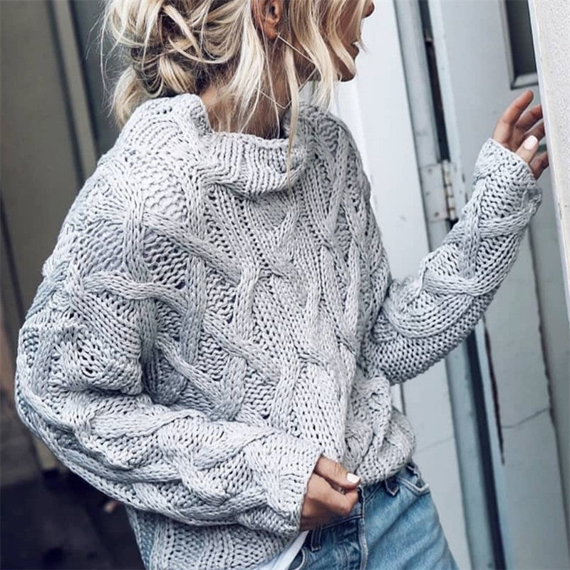 Casual Half High Collar Knit Twist Sweater