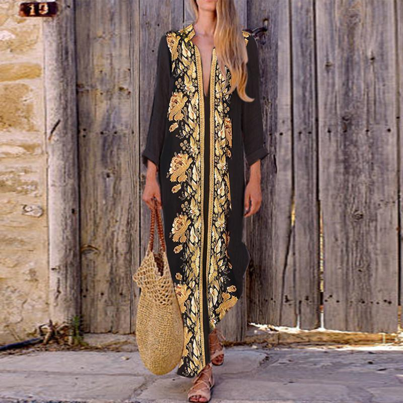 Turn Down Collar Bohemian Printed Maxi Dress
