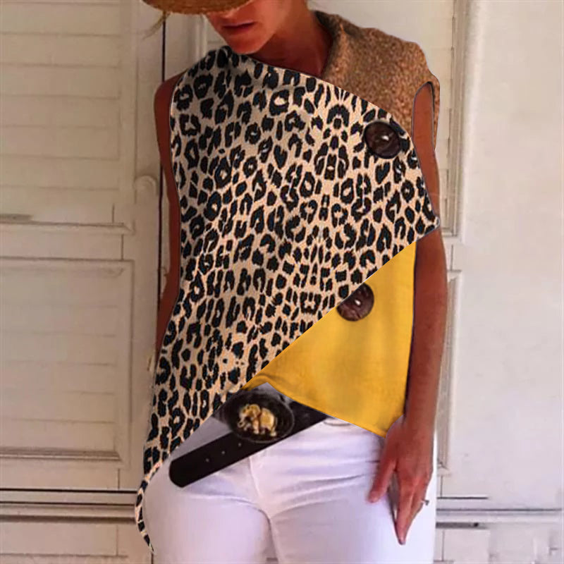 Fashion leopard stitching sleeveless top