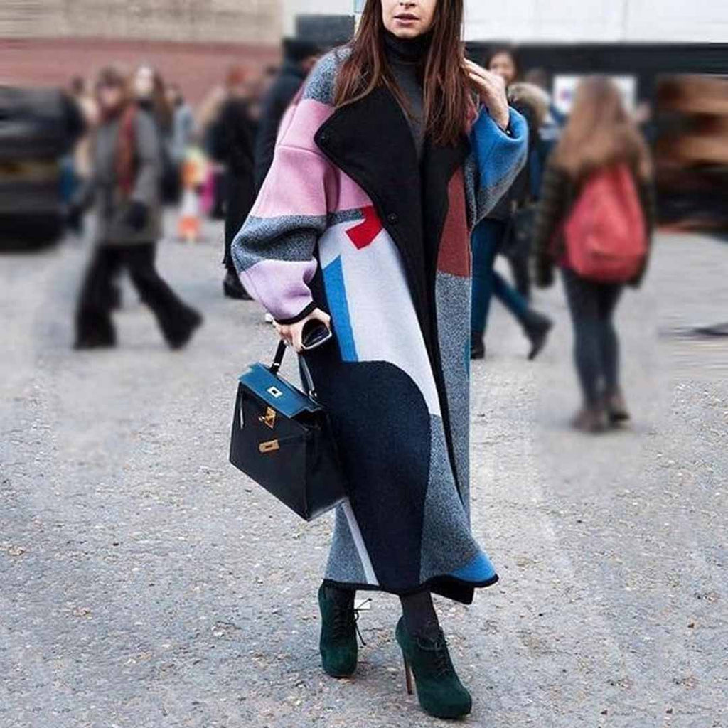 Fashion Color Matching Lapel Wool Long Coat