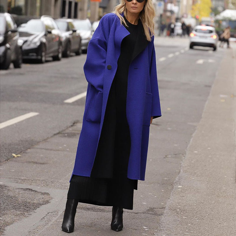 Fashion Pure Color Patch Pocket Shoulder Sleeve Midi Overcoat