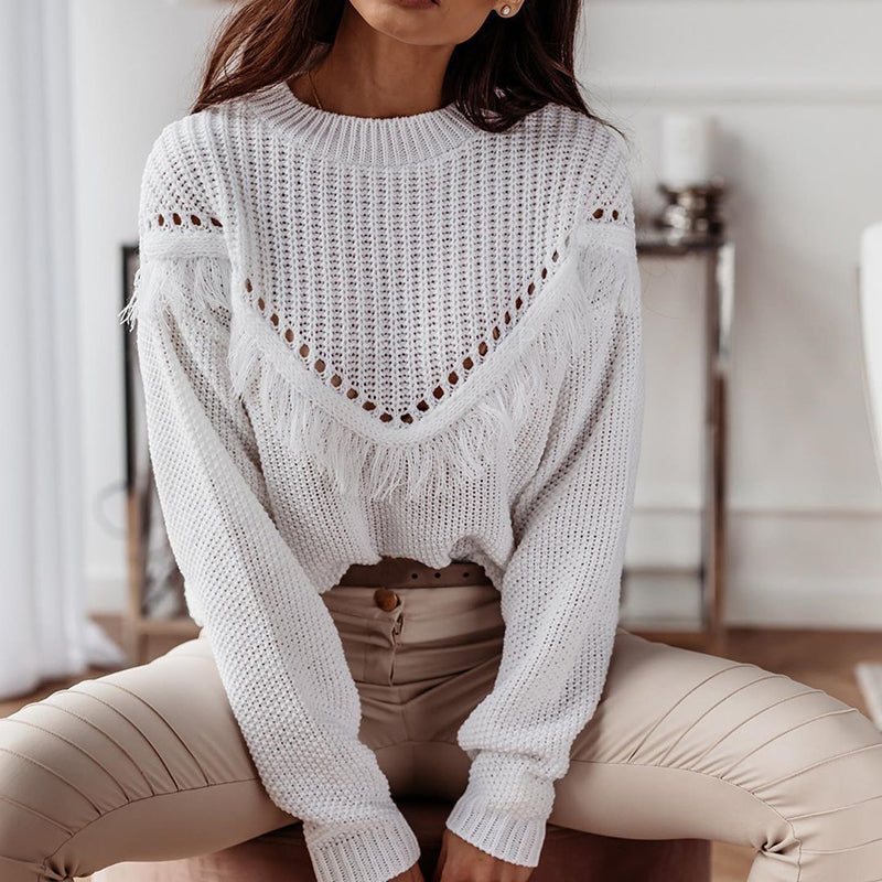 Stylish Splicing Long Sleeve Tassel Sweater