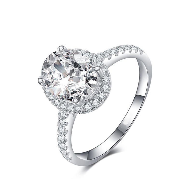 Women Delicate Oval Diamond Wedding Ring