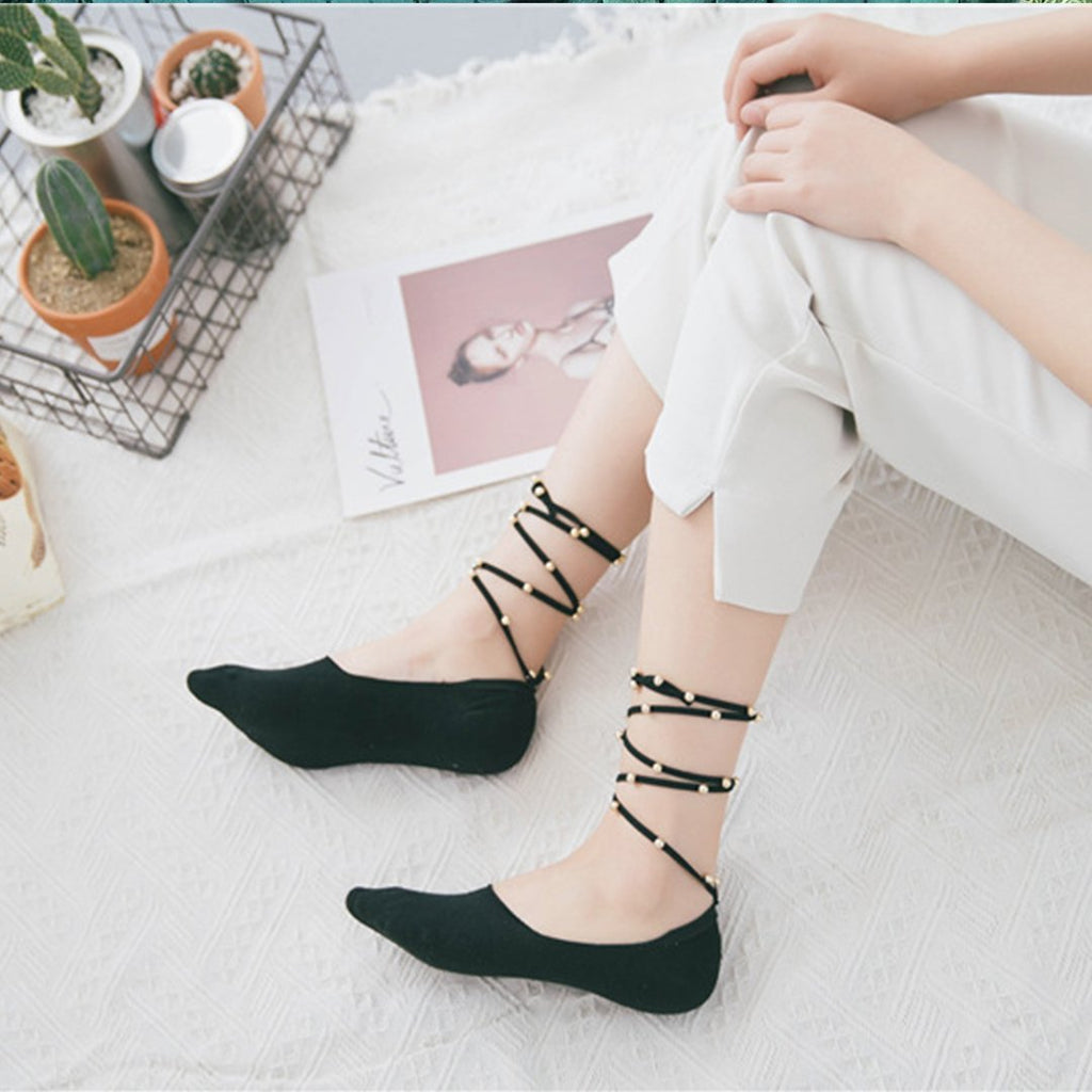 Women shallow mouth straps pearl anti-skid invisible boat socks
