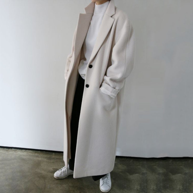 Women's Simple Loose White Long Coat