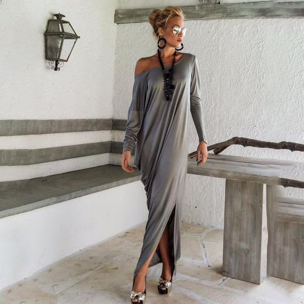 One Shoulder Slit Long Sleeve Gray Maxi Dresses