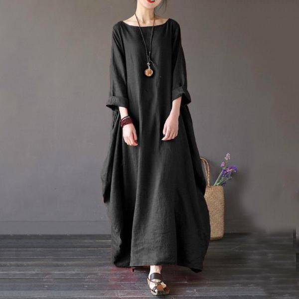 Round Neck Pocket Plain Black Casual Maxi Dress