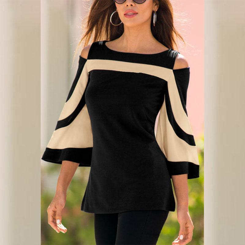 Open Shoulder Round Neck  Patchwork  Bell Sleeve Blouses