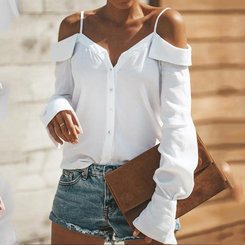 Fashion  Sexy  Off Shoulder Sling Plain Long Sleeve Straps Blouse