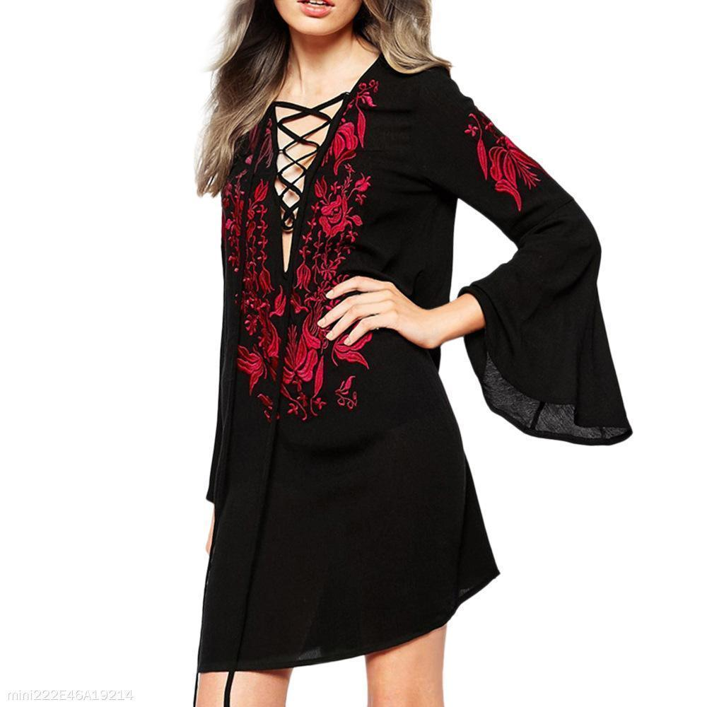 Slim-Fit Sexy V-Neck Long-Sleeved Ruffled Sleeves Dress
